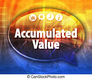 Accumulated value Business term speech bubble illustration