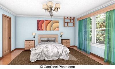 accumulation, animation, chambre à coucher, intérieur, 3d