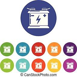 Accumulator icons set vector color - Accumulator icons color...