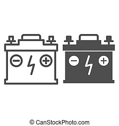 Accumulator line and glyph icon. Battery vector illustration isolated on white. Charge outline style design, designed for web and app. Eps 10.