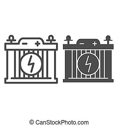 Accumulator line and glyph icon. Car battery vector illustration isolated on white. Power outline style design, designed for web and app. Eps 10.