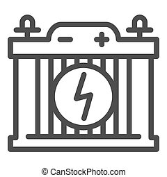 Accumulator line icon. Car battery vector illustration isolated on white. Power outline style design, designed for web and app. Eps 10.