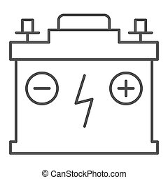 Accumulator thin line icon. Battery vector illustration isolated on white. Charge outline style design, designed for web and app. Eps 10.