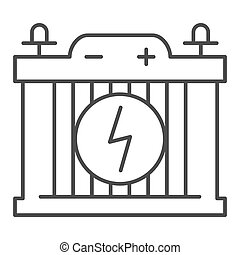 Accumulator thin line icon. Car battery vector illustration isolated on white. Power outline style design, designed for web and app. Eps 10.