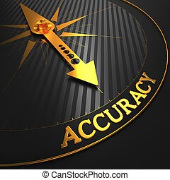 Accuracy - Golden Compass Needle on a Black Field Pointing.