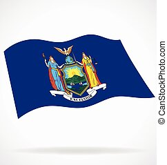 flying waving new york ny state flag vector