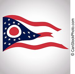 accurate correct ohio oh state flag flying waving vector