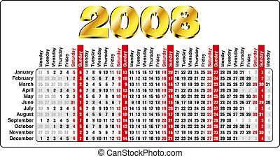 Horizontal Calendar - Accurate Horizontal Calendar for 2008...