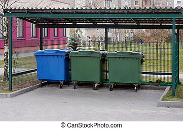 Accurate pure correct place for garbage containers in the residential city area