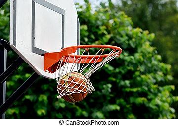 Basketball ball flies into the shopping cart
