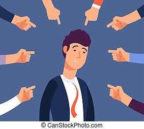 accus, ufficio, ottenere, concept., lavoro, illustrazione, bullying, vettore, adulto, coworkers., molestia, arrabbiato, uomo