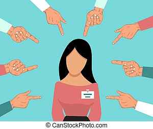 Accusation guilty person female. Unhappy guilty girl is blamed by many people fingers pointing at her. Girl accused vector illustration. Disgraced woman