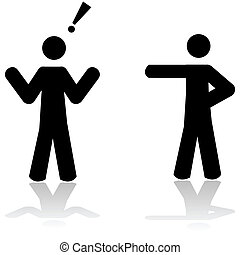 Illustration showing a man pointing at another person, who reacts in surprise