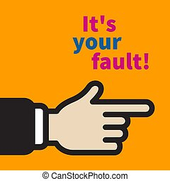 accusation of victim, criticism of boss, index finger points guilty, aggressive criticism of manager. Vector flat illustration