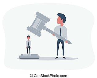 accusato, giustizia, persona, corte, law., attesa, issuance, verdetto