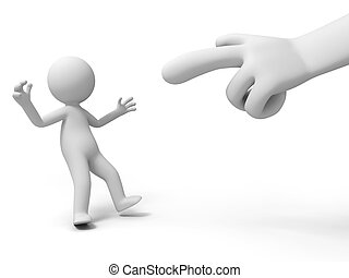 accused , criticize - A hand in the accused a person