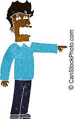 accuser, dessin animé, homme