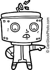 accuser, dessin animé, robot