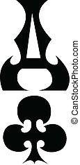 Ace clubs poker gambling clip art