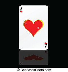 ace heart card on black backgorund