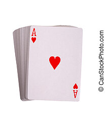 Ace hearts - Deck of playing cards isolated on white...