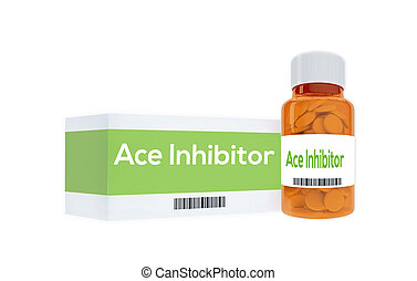 3D illustration of 'Ace Inhibitor' title on pill bottle, isolated on white. Medication concept.