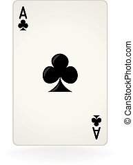 Ace Of Clubs - An isolated ace of clubs playing card.