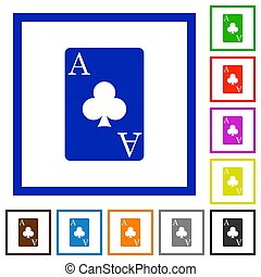 Ace of clubs card flat framed icons - Ace of clubs card flat...