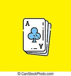 Ace of clubs card icon. Poker playing cards symbol isolated...