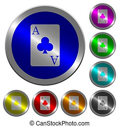 Ace of clubs card luminous coin-like round color buttons -...