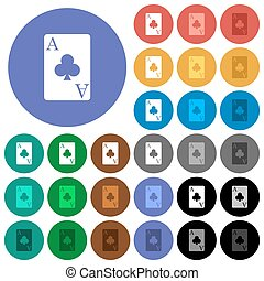 Ace of clubs card round flat multi colored icons - Ace of...