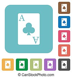 Ace of clubs card rounded square flat icons - Ace of clubs...