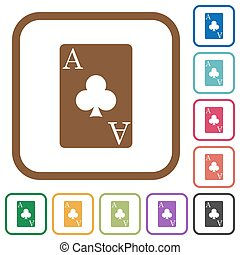 Ace of clubs card simple icons in color rounded square...