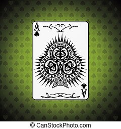 Ace of clubs poker card green background.