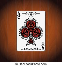 Ace of clubs poker card varnished wood background.