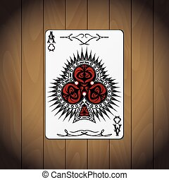 Ace of clubs poker card wood background.