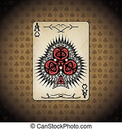Ace of clubs poker cards old look vintage background.