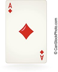 Ace Of Diamonds - An isolated ace of diamonds playing card.