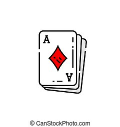 Ace of diamonds card line icon. Poker playing cards symbol. Vector illustration.