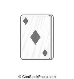 Ace of diamonds icon, black monochrome style - icon in black...