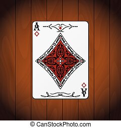 Ace of diamonds, poker card varnished wood background.