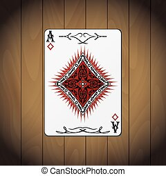 Ace of diamonds, poker card wood background.