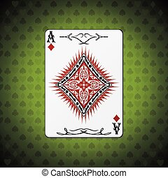 Ace of diamonds, poker cards green background.