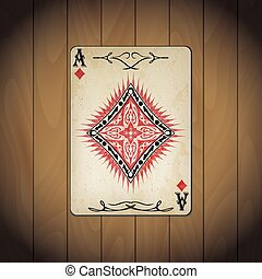 Ace of diamonds, poker cards old look varnished wood...