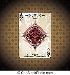 Ace of diamonds, poker cards old look vintage background