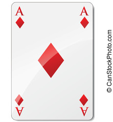Ace of diamonds - Vector illustration of ace of diamonds on...
