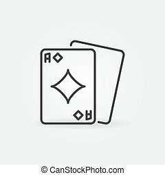 Ace of Diamonds vector outline concept icon or design element
