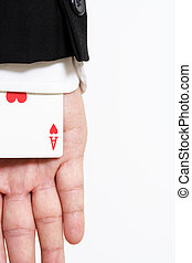 A businessman carrying an ace of hearts