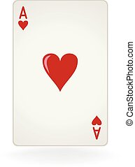 Ace Of Hearts - An isolated ace of hearts playing card.