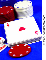 Ace of Hearts - Deck of Cards and Poker Chips.